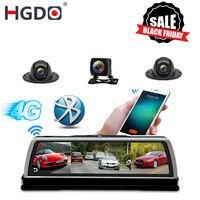 HGDO New 2019 ADAS 4 Channel Car DVR Camera Video Recorder Mirror 4G 10 Media Rearview Mirror 4 Core Android Dash Cam FHD 1080P