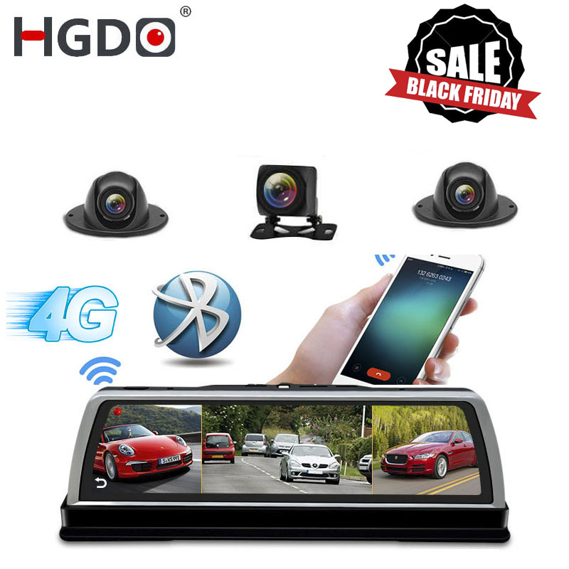 HGDO New <font><b>2019</b></font> ADAS 4 Channel Car DVR Camera Video Recorder <font><b>Mirror</b></font> 4G 10