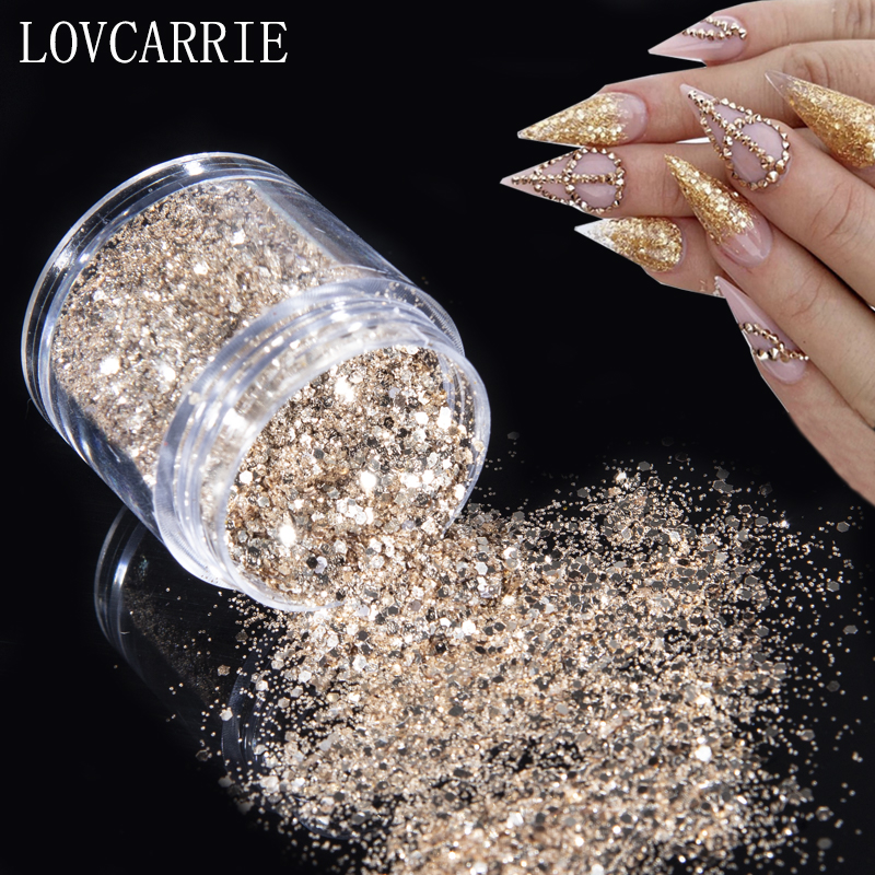 NEW 10g Champagne Gold Glitter Nail Powder Sequins Holographic Shiny Mix Dip Powder Flakes Nail Art Pigment Paillettes For Nails