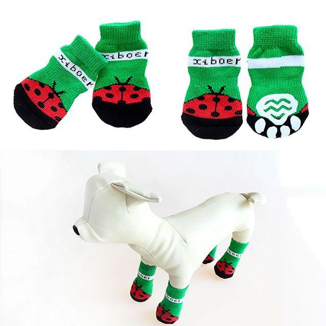 Купить 4 шт/компл милые вязаные носки для собак хлопковая противоскользящая картинки цена
