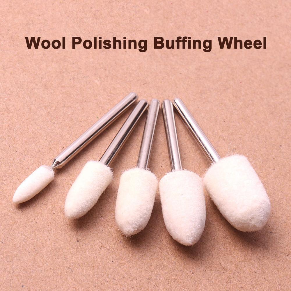 5Pcs Wool Felt Mounted Polishing Grinding Buffing Wheels Set 3mm Shank For Dremel Die Grinder Drill Rotary Tools 4/6/8/10/12mm