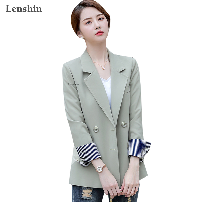 Lenshin Double Breasted Contrast Sleeve Blazer Loose High-street Casual Fashion Style Jacket Office Lady Coat Wear Tops