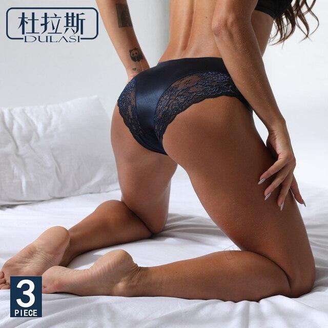 Sexy Lace Panties Seamless Women Underwear Nylon Silk  Briefs Intimates Bikini Cotton Lingerie Amazing Briefs DULASI 3 pcs set 2
