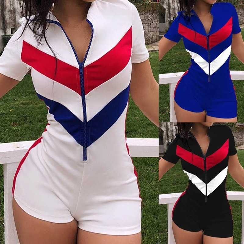 2020 Striped Patchwork Playsuit Romper Sexy Women Deep V-neck Front Zipper Jumpasuit Short Sleeve Bodycon Sports Causal Jumpsuit