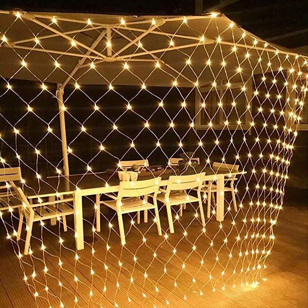 3MX2M Mesh Christmas Light Outdoor Decoration LED Net Light String Garland Xmas Party Garden Wedding Window Curtain Lights Fairy