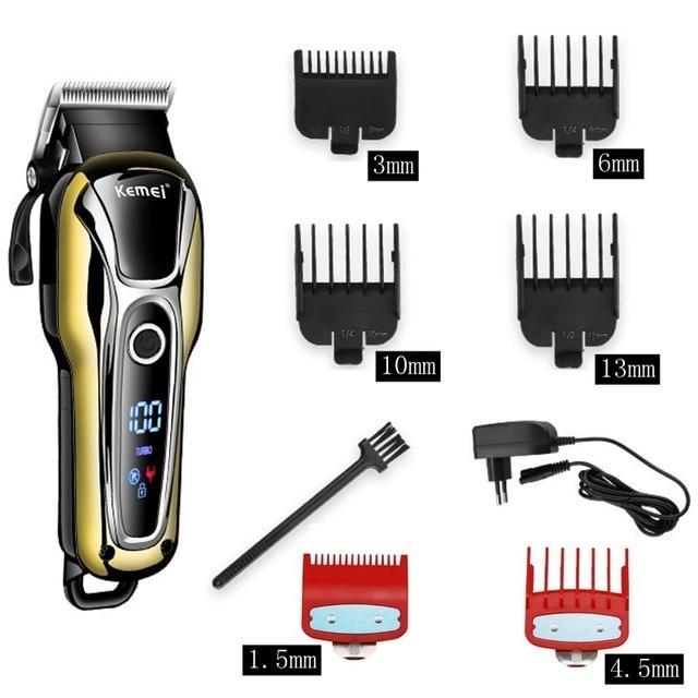 Barbeiro máquina de cortar cabelo profissional aparador de cabelo para homens barba cortador elétrico máquina de corte de cabelo sem fio com fio 2