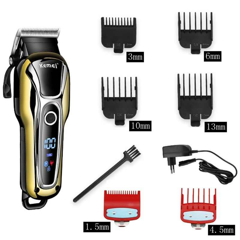 Barbeiro máquina de cortar cabelo profissional aparador de cabelo para homens barba cortador elétrico máquina de corte de cabelo sem fio com fio