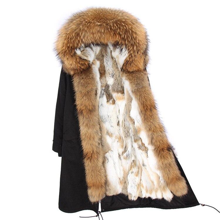 Moda mujer real conejo piel forro invierno chaqueta abrigo escorpión piel cuello desmontable con capucha larga ropa de diseñador DHL 5 7 - 5
