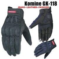 2019 Komine Gloves Motorcycle GK118 Gloves Riding Nylon Leather Summer Glove Motorbike Moto GP Racing Sport Black BLUE 2 Colors