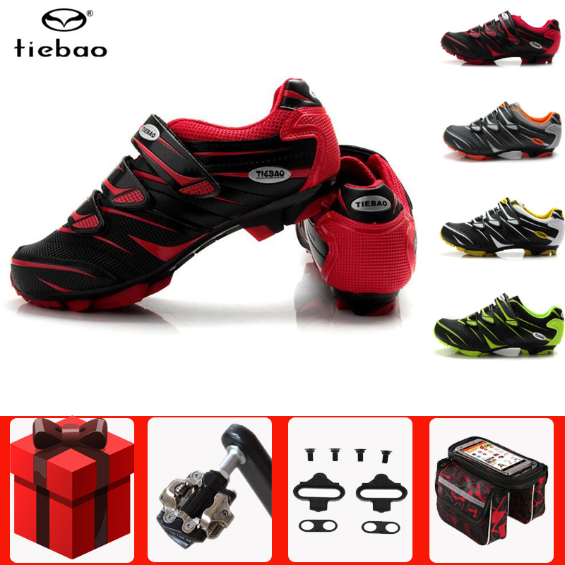 Tiebao MTB Cycling Shoes SPD Cleat Pedal Set Professional Outdoor Athletic Racing Bike Shoes Self-locking Bicycle Shoes Sneakers