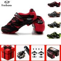 Tiebao mtb ciclismo sapatos spd cleat pedal conjunto profissional ao ar livre atlético de corrida de bicicleta sapatos de auto-bloqueio tênis