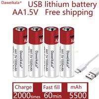 Daweikala-reloj AA recargable por USB, batería de iones de litio, 1,5 V, AA, 5500mah/batería de iones de litio, para juguetes, reproductor MP3, termómetro, teclado