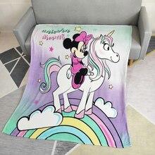 Descuentos encantador punto Minnie Mouse con Manta de lana de Coral de unicornio Manta para niñas regalo de cumpleaños en la cama/sofá /cuna/avión