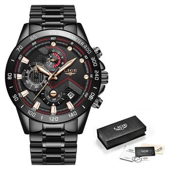 Relogio Masculino LIGE Hot Fashion Mens Watches Top Brand Luxury Wrist Watch Quartz Clock Blue Watch Men Waterproof Chronograph 13