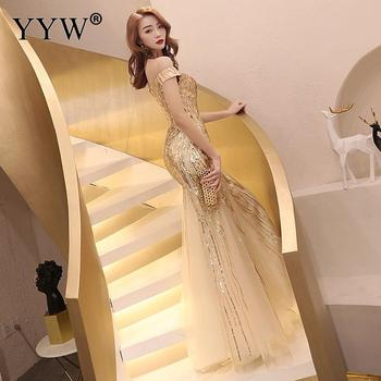 Gold Sequined Luxury Women Evening Dresses Off Shoulder Backless Lace Up Sexy Robe De Soiree Mesh Elegant Mermaid Party Vestidos