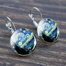 Art Vintage Van Gogh Painting Series Earrings Starry Night Tibetan Silver Hook Birthday Gifts