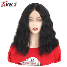 Xtrend Synthetic Wave Wig Lace Front Wigs Short Bob Hair 14 inch Black Brown Red Ombre Wig For Women Adjustable Heat Resistant