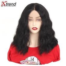 Xtrend sentetik dalga peruk dantel ön peruk kısa Bob saç 14 inç siyah kahverengi kırmızı Ombre peruk kadınlar için ayarlanabilir isıya dayanıklı