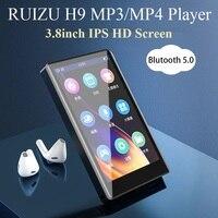 RUIZU-reproductor MP4 H9 de Metal, Bluetooth 5,0, altavoz incorporado, pantalla completamente táctil de 3,8 pulgadas, compatible con Radio FM, grabación, vídeo, E-book