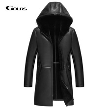 Jacket Men Sheepskin Long-Coat Real-Shearling Genuine-Leather Winter Black Gours Wool