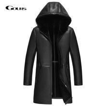 Мужская длинная куртка gours черная теплая из натуральной овчины