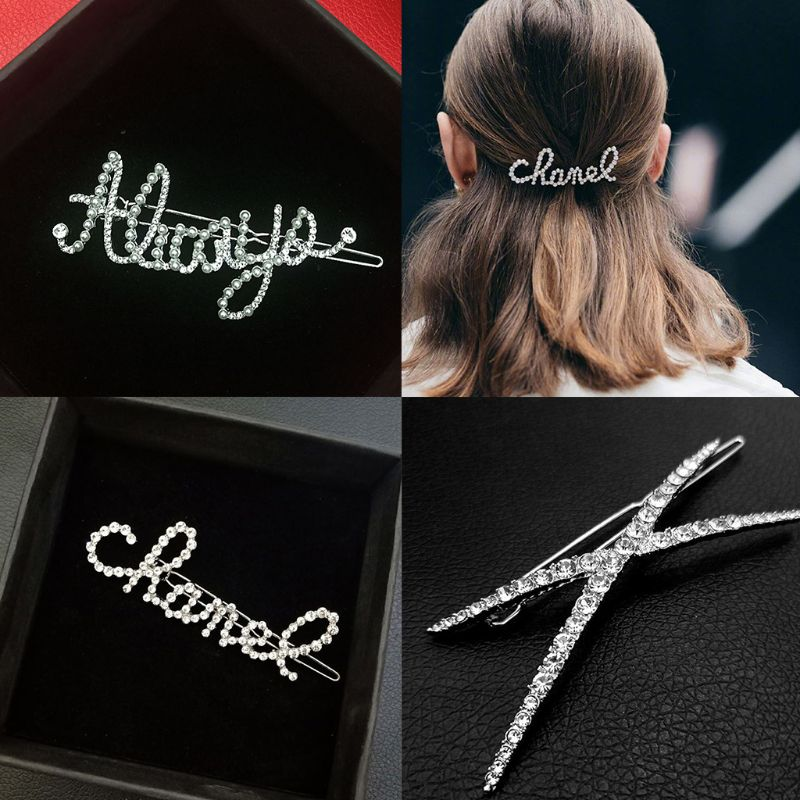 Minimalist Ladies Rhinestone Handwriting Letters Frog Bobby Pins Cross Shaped Side Bangs Ponytail Holder Clips Styling Barrettes