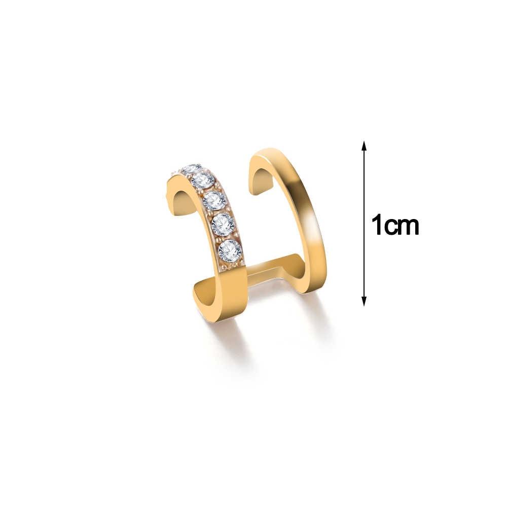 בציר פאנק קריסטל גיאומטריה אוזן קליפ קאף גלישת עגילים לנשים קליפ ללא פירסינג כסף זהב עגילי תכשיטי Earcuffs