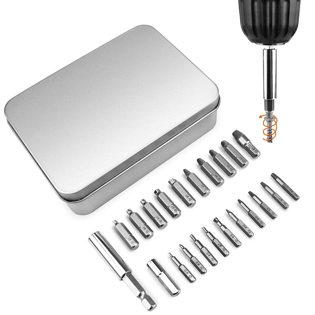 22pcs  Broken Bolt Extractor Screw Remover Set With Magnetic Extension Bit Holder Socket Adapter Damaged Screw Extractor Set