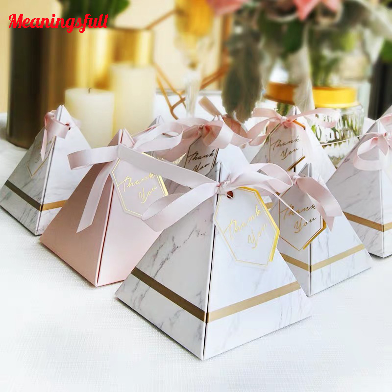 30/50/100PCS Triangular Pyramid Marble Candy Box Wedding Chocolate Box Gifts Bags Baby Shower Birthday Party Supplies