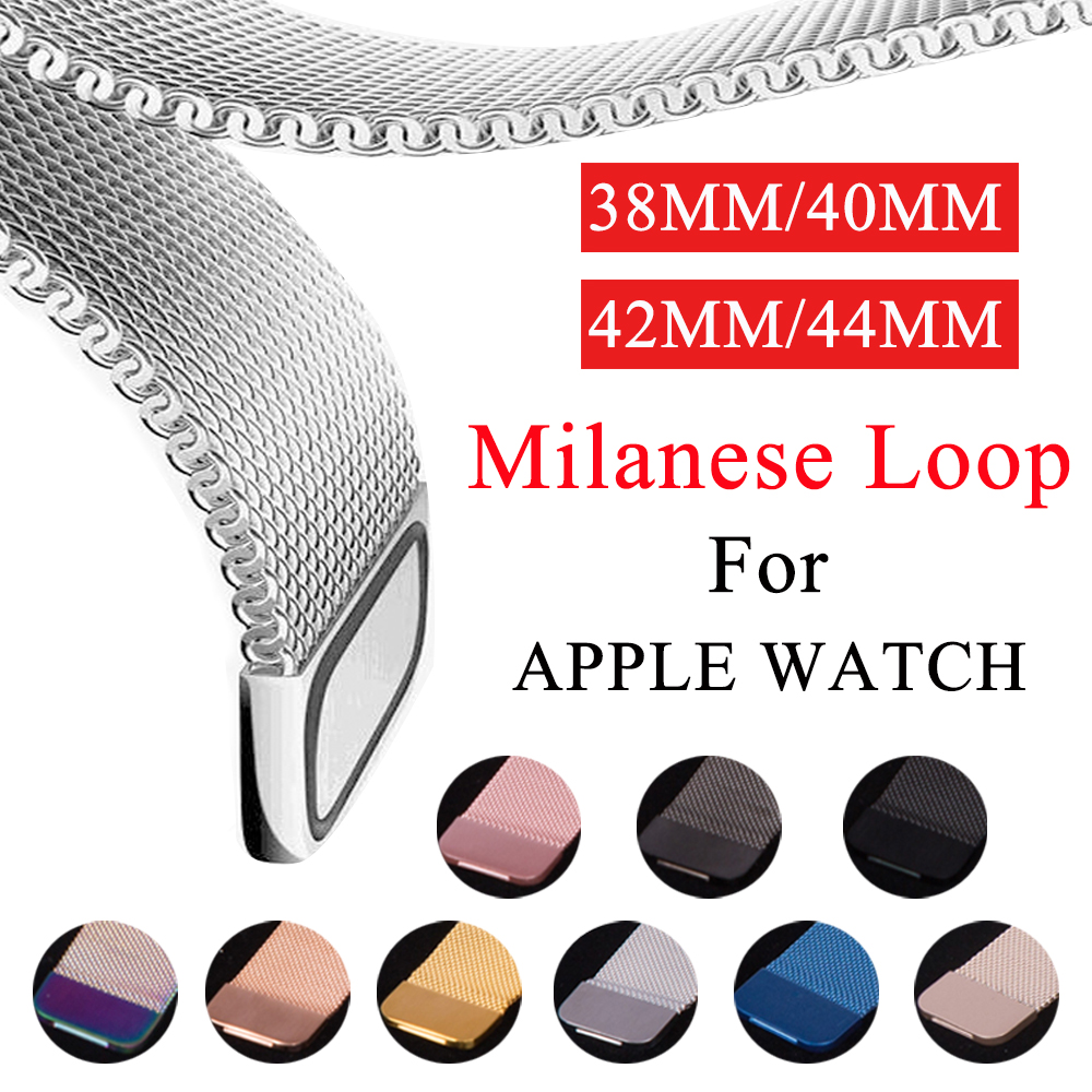 Milanese Loop Band For Apple Watch 38mm 42mm Stainless Steel 40mm 44mm Replacement Strap For IWatch Series 5 4 3 2 1 Watchband