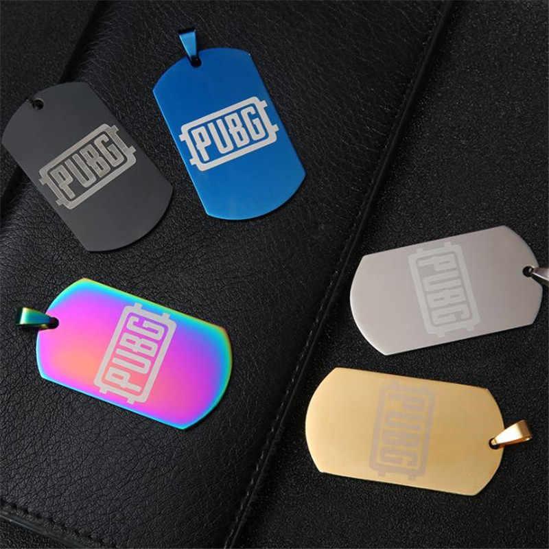 Pubg jogo em torno do cartão militar cão tag cosplay colar acessórios prop pan metal material 98k