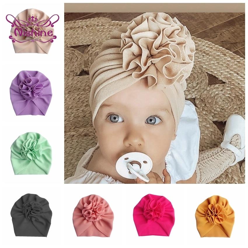 Nouvelle mode fleur bébé chapeau nouveau-né élastique infantile Turban chapeaux pour filles coton enfants enfants bonnet casquette chapeaux Photo accessoires