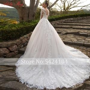 Image 2 - Adoly Mey Design Gorgeous Appliques Flowers Beaded A Line Wedding Dresses 2020 Elegant Scoop Neck Long Sleeve Vintage Bride Gown