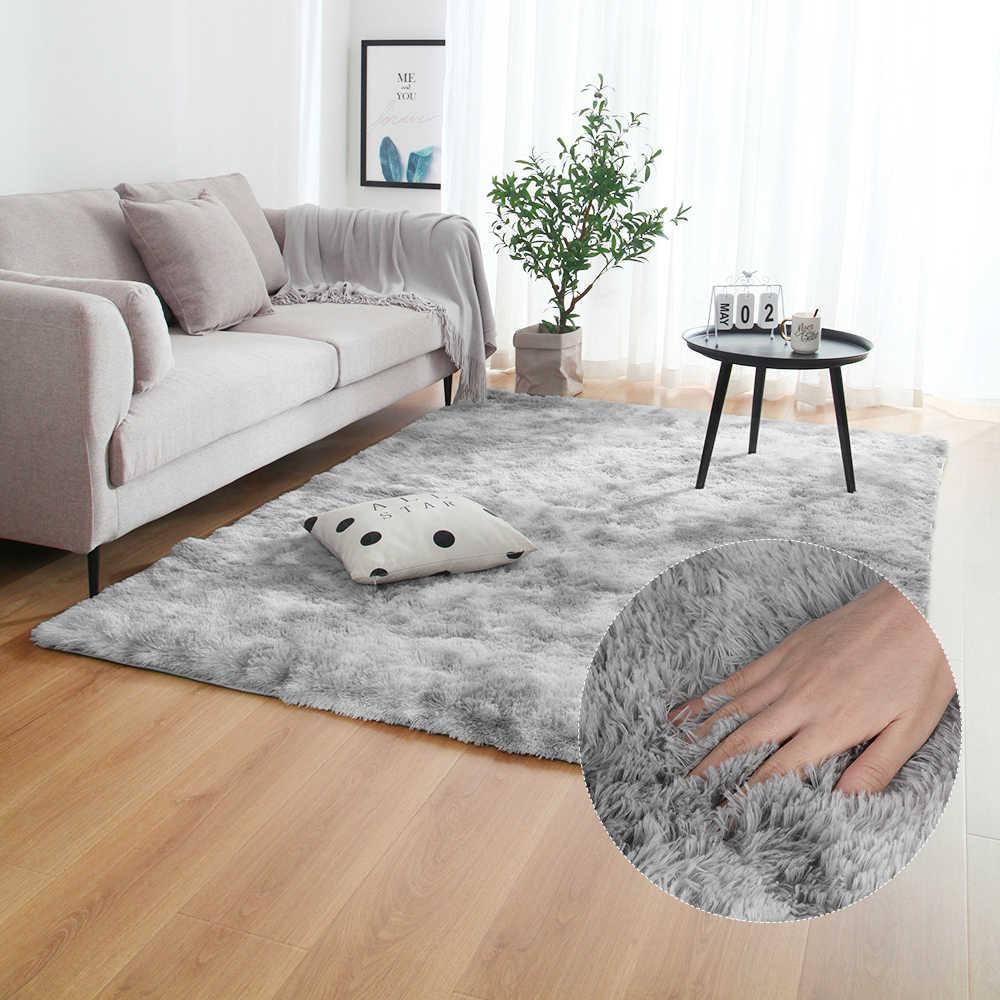 Szary dywan Tie barwienie pluszowe miękkie dywany dla sypialnia salon antypoślizgowe maty podłogowe sypialnia dywan absorbujący wodę dywaniki