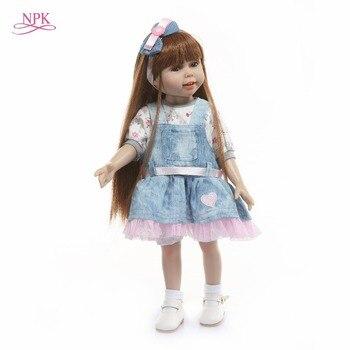 NPK Bebes Reborn Dolls de Silicone Girl Body 45cm full vinyl adorable Doll Toys For Girls boneca Baby Bebe Doll Best Gifts toys