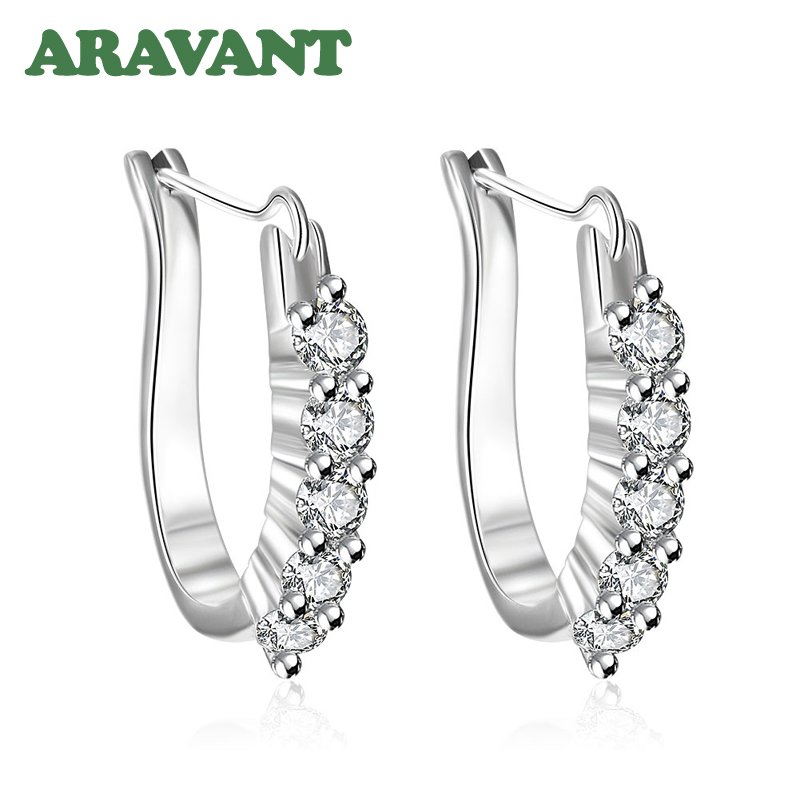 New Design U Shape Pave AAA+ Cubic Zirconia Hoop Earrings For Women Fashion Wedding Jewelry