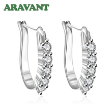 New Design U Shape Pave AAA+ Cubic Zirconia Hoop Earrings For Women Fashion Wedding Jewelry beautiful hoop oval earrings pave grey pearl and aaa cubic zirconia crystal high quality fashion jewelry for women