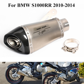 S1000RR Motorcycle Exhaust System Pipe Escape Modified Slip On For BMW S1000RR 2010-2014 Carbon 60mm Muffler Silencer Tips Pipe