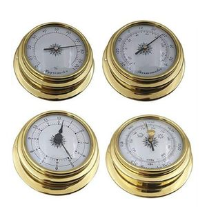 Image 1 - 4 Inches 4 PCS/set Thermometer Hygrometer Barometer Watches Clock Copper Shell Zirconium Marine for Weather Station