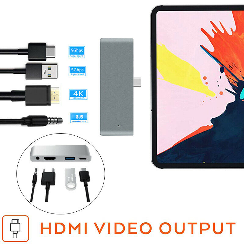 USB C Hub Type C Adapter USB C 3.5mm Headset 4k HDMI PD Dongle For IPad Pro US1