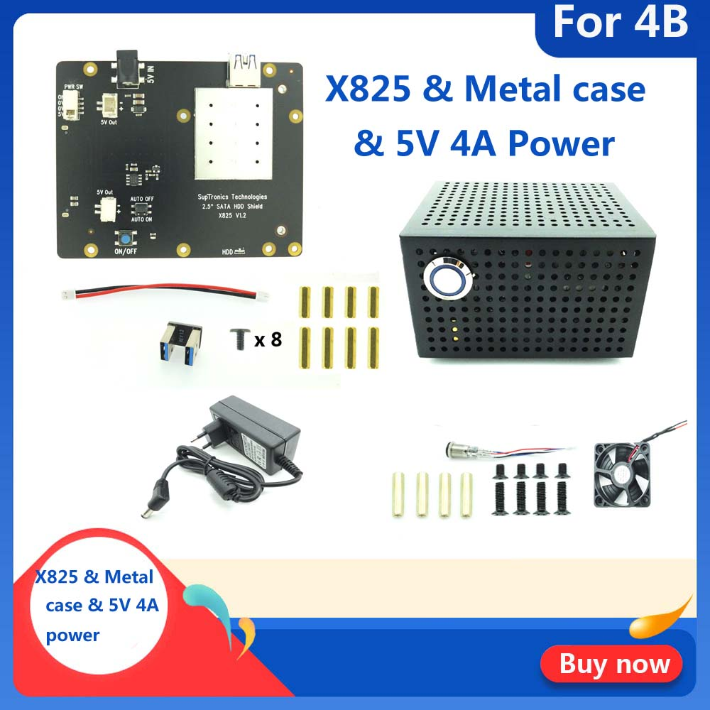 New Raspberry Pi X825 SSD&HDD SATA Board Matching Metal Case+Switch+Cool Fan, Honeycomb Chassis For X825 Raspberry Pi 4 Model B