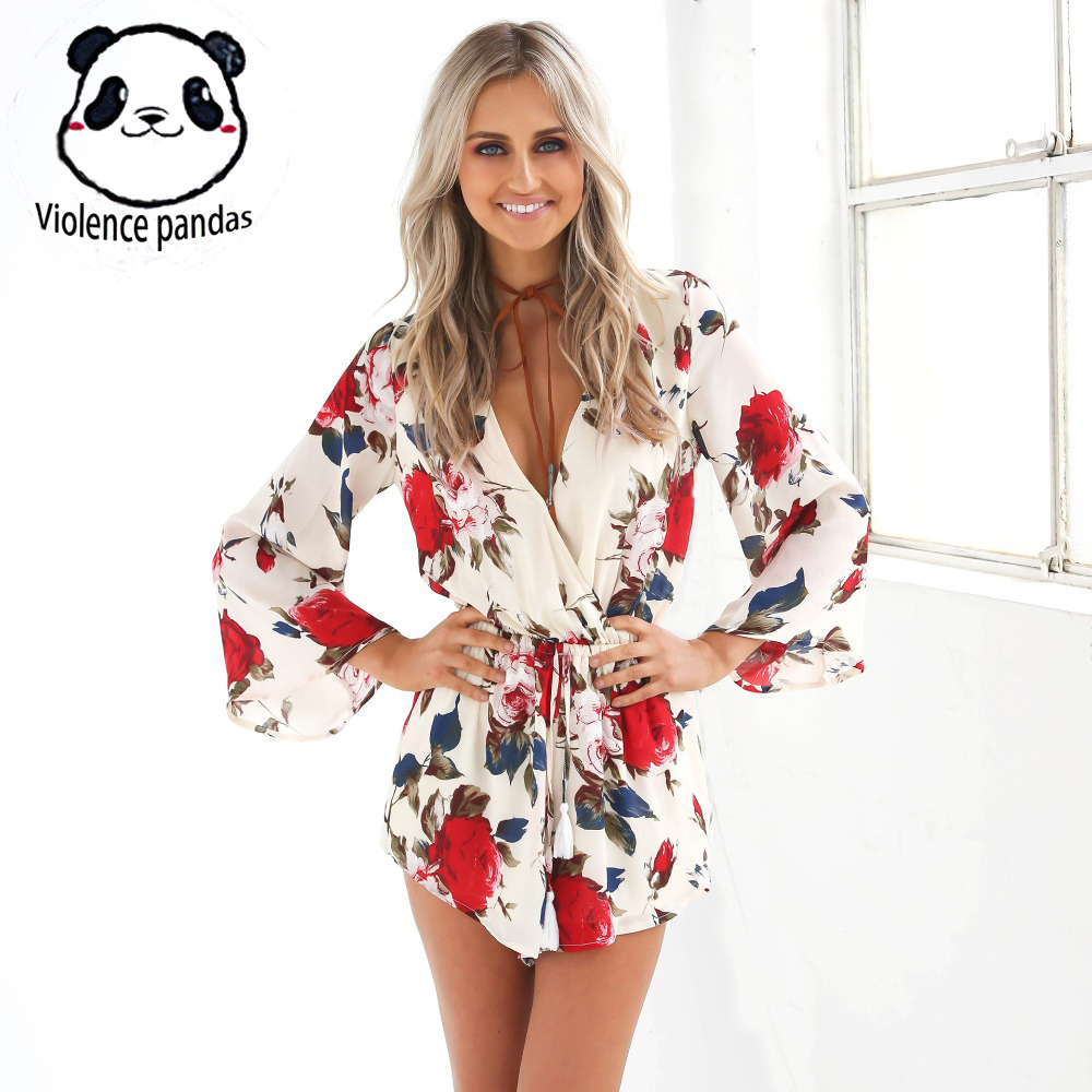 Jumpsuit Romper Short Overalls Boho-Clothing Floral-Print Women Sexy Summer V-Neck Sale