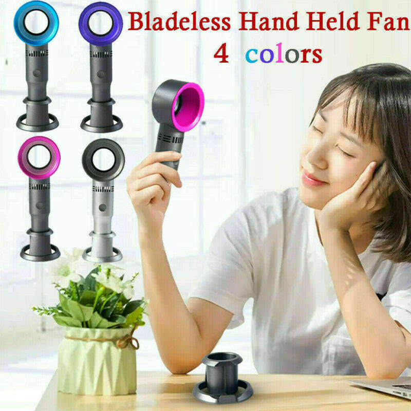 4 Colors 2019 360 Degrees Portable Cool Bladeless Hand Held Cooler Mini USB Cable No Leaf Handy Fan