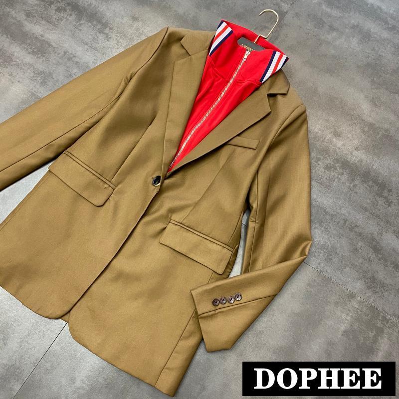 2020 Spring New Fashion Zipper High Collar Color Block Jacket Women Leisure Double Pocket Long Sleeve Suit Blazer Coat Tops