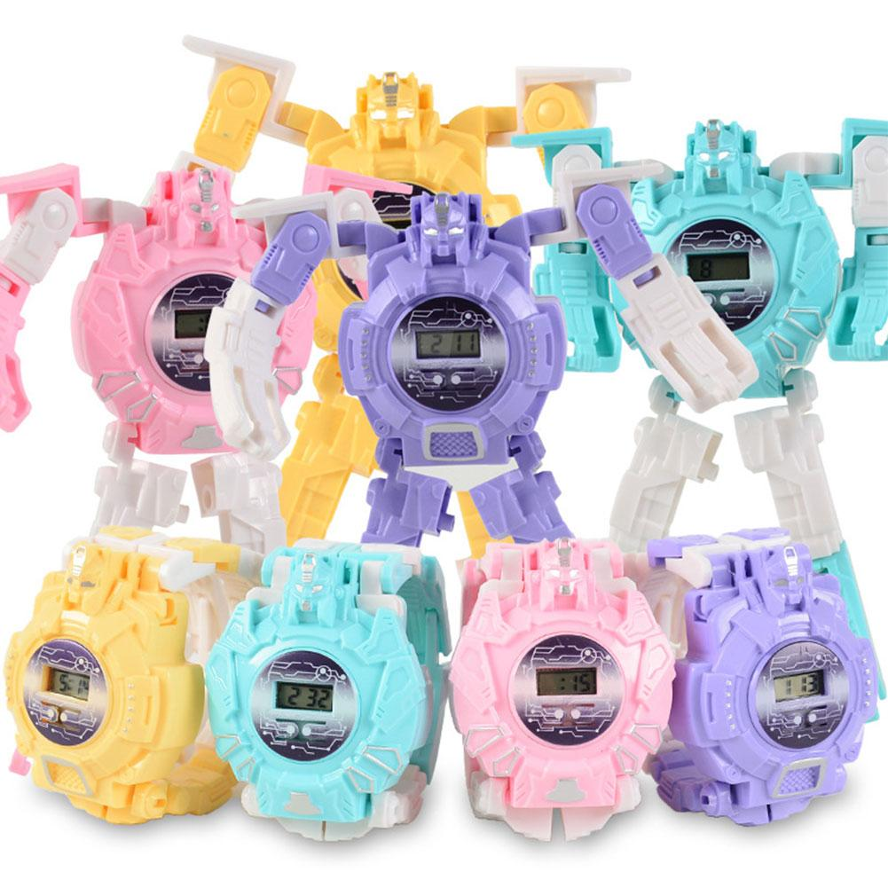 Children's Robot Deformation Wristwatch Trasformation Boy Girl Digital Multifunction Cartoon Puzzle Kids Toy Electronic Watch