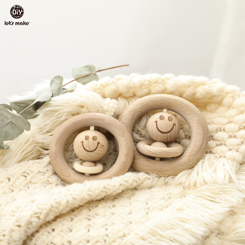Let's Make Baby Toys 0-12 Months Wooden Rattles Smiley Face Wood Ring Musical Developmental 1PC Educational Toys For Children