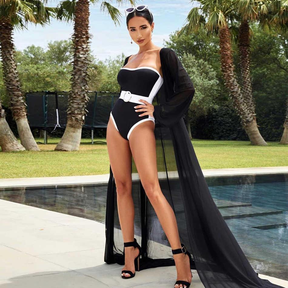 ADYCE 2019 новый летний черный бандажный купальник без бретелек сексуальный женский комбинезон без рукавов Пояса бикини Купальники комбинезоны