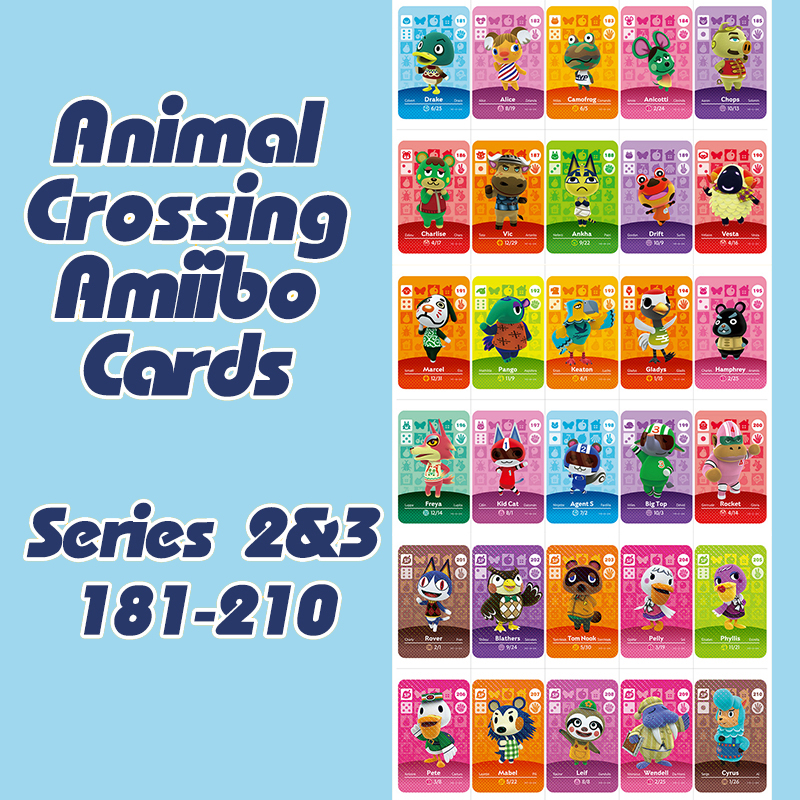 Animal Crossing New Horizons Amiibo Card For NS Switch 3DS Game Lobo Card Set Series 2&3 (181-210)
