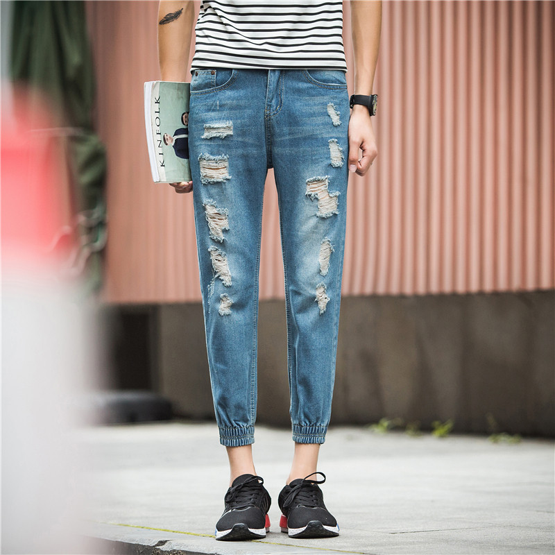 2016 New Style MEN'S Jeans Nostalgic Teenager Beam Leg Capri Pants Korean-style With Holes Capri Pants Fashion