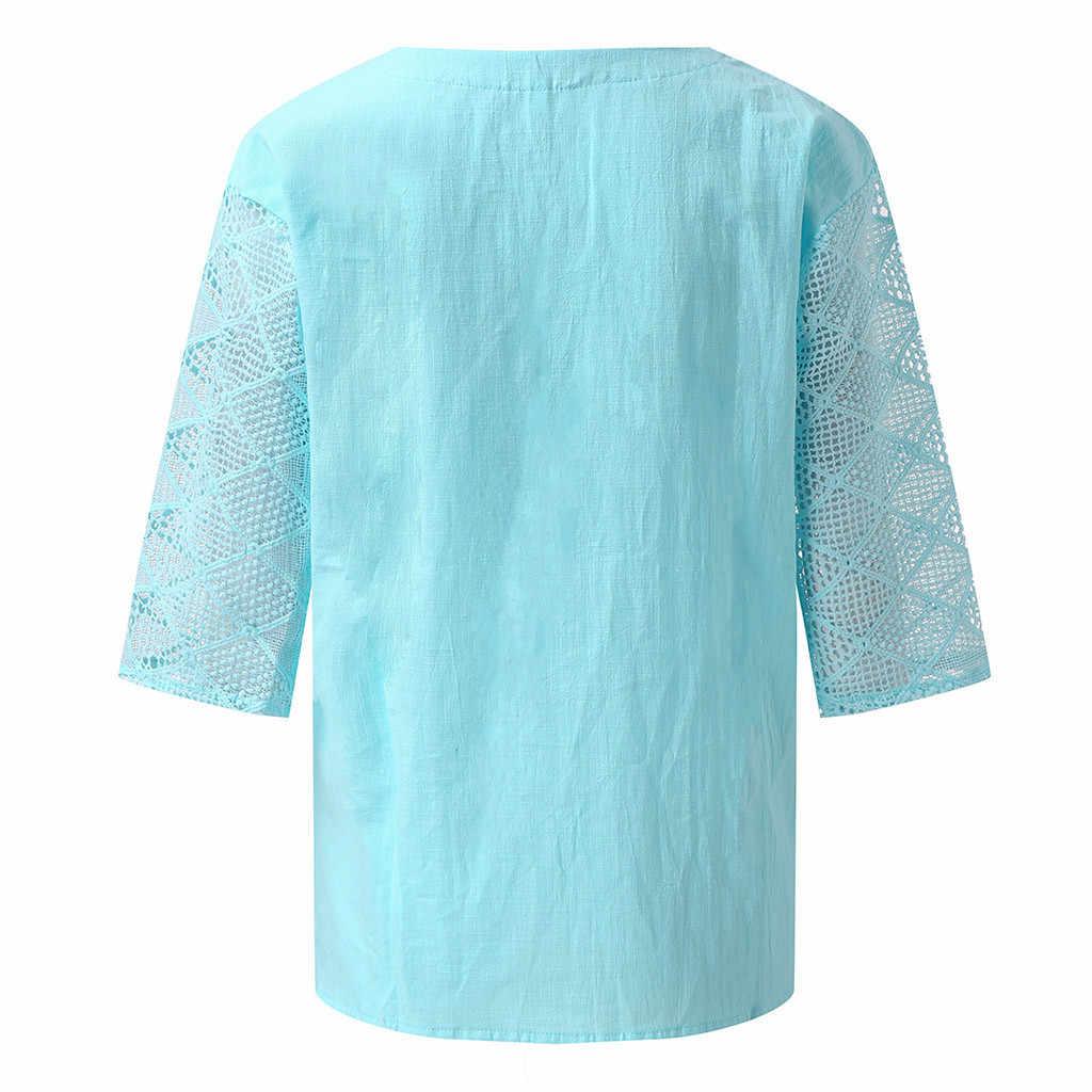 KLV tシャツ原宿 футболка женская 女性のソリッドカラーのレースのステッチ Tシャツルーズシャツ送料無料 D4 クロップ